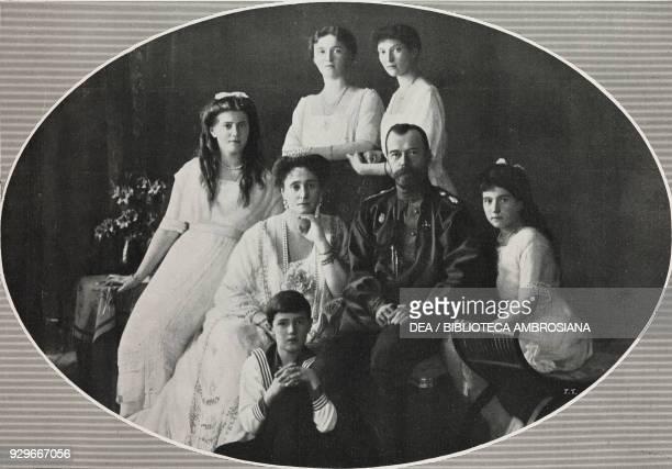 Russia's Tsar Nicholas II Tsarina Aleksandra Fedorovna and their children Maria Olga Tatiana Anastasia and Aleksej photograph by Trampus from...
