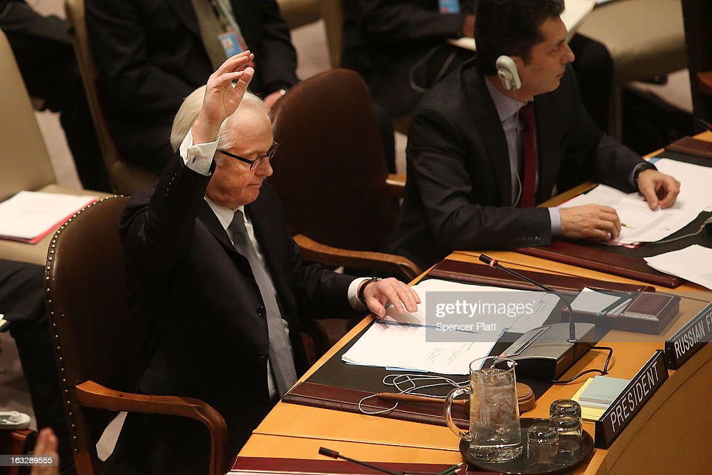 Russia's U.N. Ambassador Vitaly Churkin votes at a U.N. Security Council meeting on imposing a fourth round of sanctions against North Korea in an attempt to halt its nuclear and ballistic missile programs on March 7, 2013 in New York City. North Korea vowed today to launch a preemptive nuclear strike against the United States.