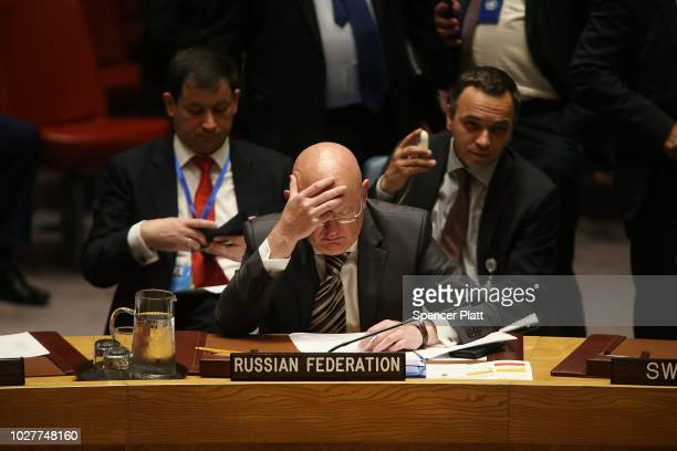 Russia's United Nations Ambassador Vassily Nebenzia attends a UN Security Council meeting where the United Kingdom officially announced the latest...