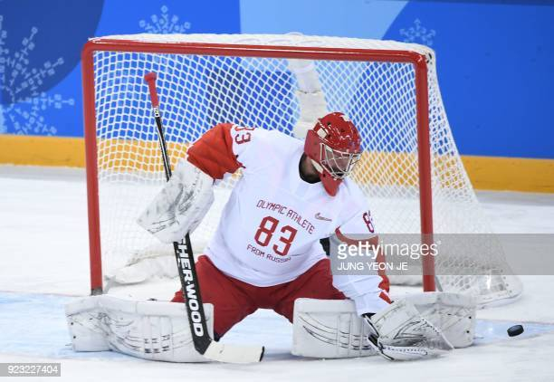 Russia's Vasili Koshechkin blocks a shot in the men's semi-final ice hockey match between the Czech Republic and the Olympic Athletes from Russia...