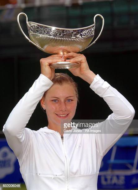 Russia's Vera Zvonareva with the Maud Watson trophy after defeating USA's Jamea Jackson in the DFS Classic final at Edgbaston Priory Club Birmingham