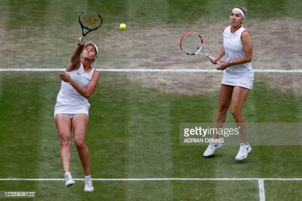 Russia's Veronika Kudermetova and Elena Vesnina play against Taiwan's Su-Wei Hsieh and Belgium's Elise Mertens during their women's doubles final...