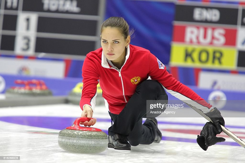 Russia's vice-skip Anastasia Bryzgalova delivers a stone during semi-finals the game between Russia and Korea within the World Mixed Curling Championship 2016 at the Sport Palace in Kazan, Russia on October 22, 2016.