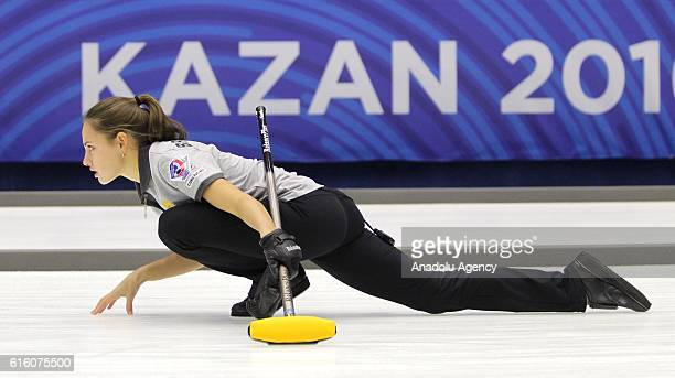 Russia's viceskip Anastasia Bryzgalova in action during 1/8 finals the game between Italy and Russia within the World Mixed Curling Championship 2016...