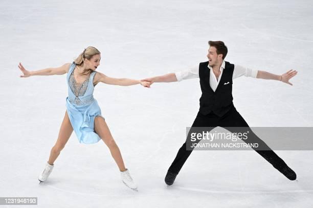 Russia's Victoria Sinitsina and Nikita Katsalapov perform during the ice dance programme event at the ISU World Figure Skating Championships in...