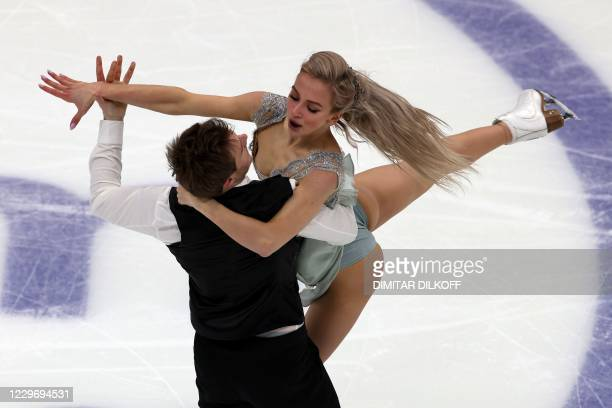 Russia's Victoria Sinitsina and Nikita Katsalapov perform their rhythm dance program during the Ice Dance competition at the Rostelecom Cup 2020 ISU...