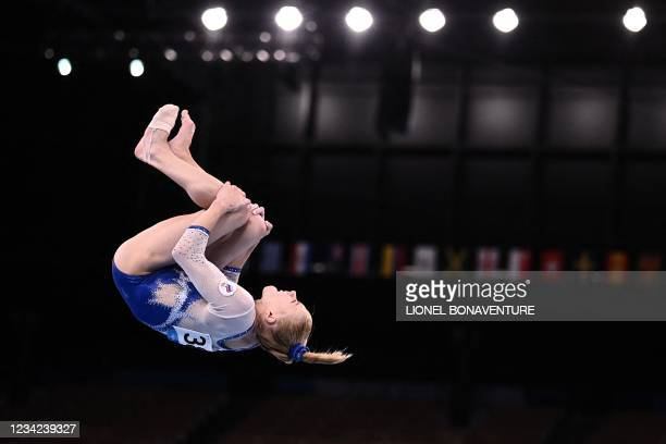 Russia's Viktoriia Listunova competes in the balance beam event of the artistic gymnastics women's team final during the Tokyo 2020 Olympic Games at...