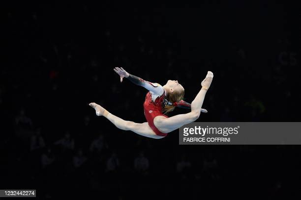 Russia's Viktoriia Listunova competes in the Women's beam qualifications during European Artistic Gymnastics Championships at the St Jakobshalle, in...