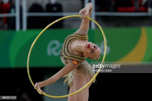 Russia's Yana Kudryavtseva competes in the individual allaround of the Rhythmic Gymnastics at the Olympic Arena during the Rio 2016 Olympic Games in...