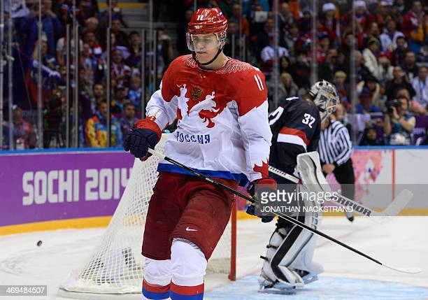 Russia's Yevgeni Malkin reacts after missing a shot at the end of the Men's Ice Hockey Group A match USA vs Russia at the Bolshoy Ice Dome during the...