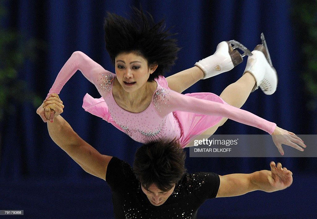 Russia's Yuko Kawaguchi and Alexander Smirnov perform their free skating program at the Dom Sportova Arena in Zagreb, 23 January 2008, during the European Figure Skating Championships 2008.