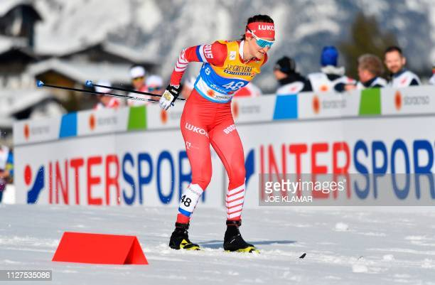 Russia's Yulia Belorukova competes in the Ladies' 10km crosscountry event at the FIS Nordic World Ski Championships on February 26 2019 in Seefeld...