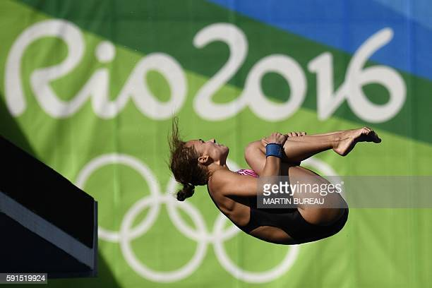 Russia's Yulia Timoshinina competes in the Women's 10m Platform Preliminary at the diving event at the Rio 2016 Olympic Games at the Maria Lenk...