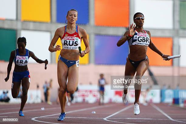 Russia's Yuliya Chermoshanskaya wins the 4 x 100 m relay from Joice Maduaka of Great Britain during day one of the Spar European Team Championships...