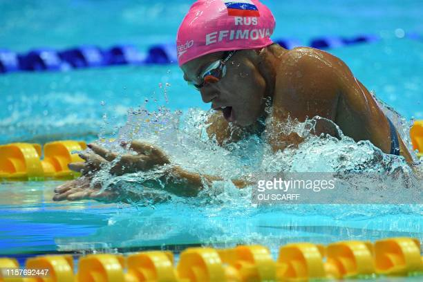 Russia's Yuliya Efimova competes and wins a final of the women's 200m breaststroke event during the swimming competition at he 2019 World...