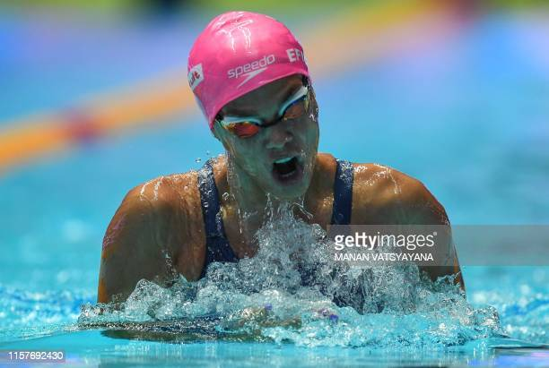 Russia's Yuliya Efimova competes and wins the final of the women's 200m breaststroke event during the swimming competition at the 2019 World...