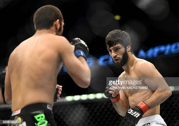 Russia's Zubaira Tukhugov and US Ernest Chavez fight in the ring during the Ultimate Fighting Championship Fight Night at the Globe Arena in...