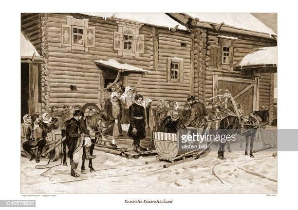 Russische Bauernhochzeit Die Brautleute kommen aus dem Haus und werden im Schlitten herumgefahren die Musik fährt auf einem anderen Schlitten...