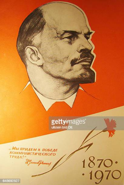 Russland Moskau Ehrenurkunde anlässlich des 100 Geburtstags von Lenin unten ein Zitat Lenins Wir werden zum Sieg der kommunistischen Arbeit kommen...