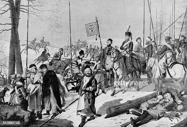 Russlandfeldzug Rückzug der französischen Armee Graf Platoff und seine Kosaken 1812