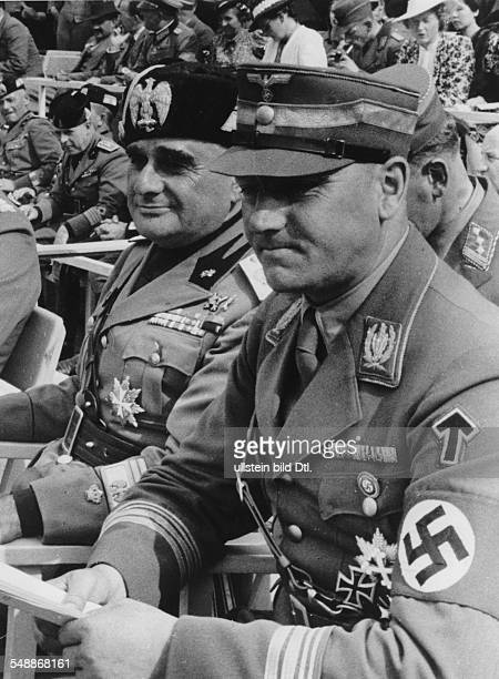 Russo Luigi General Italy The chief of staff of the fascist militia als guest of honour at the national SA competitions at the Reichssportfeld in...