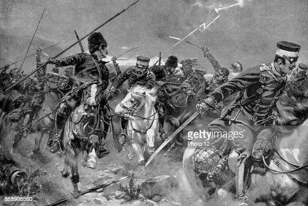 Russo-Japanese War 1904-1905 Combat between Cossacks and Japanese Cavalry in a thunderstorm at the Battle of Wafangkou 15 juin 1904.