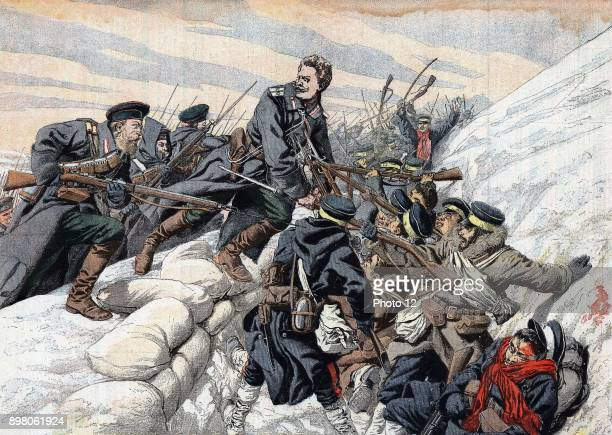 """Russo-Japanese War 1904-1905, Russian attack on the Japanese trenches outside Port Arthur. From """"Le Petit Journal"""" Paris."""