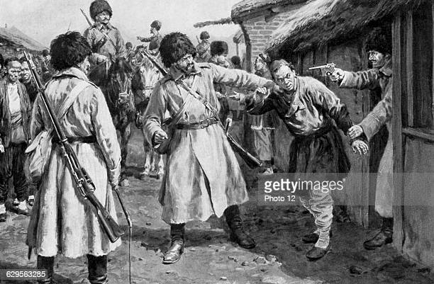 RussoJapanese War 19041905Cossacks searching for Japanese spies in a Manchurian village