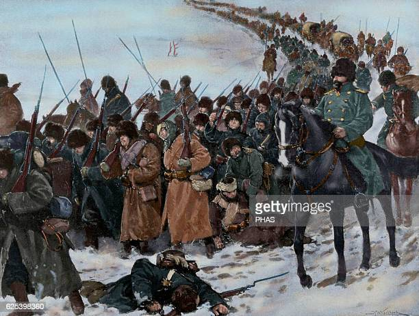 RussoJapanese War Column of Japanese soldiers marching under the cold and tiredness of fighting Engraving Colored