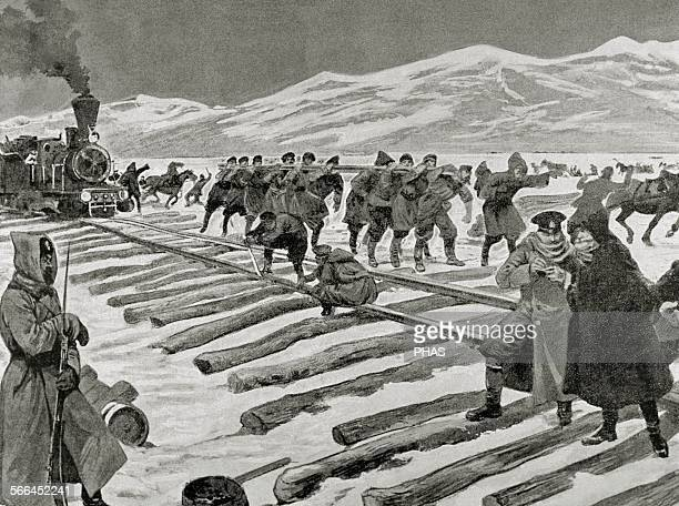 Russo-Japanese War . Construction of a railroad across the ice on Lake Baikal. Engraving.