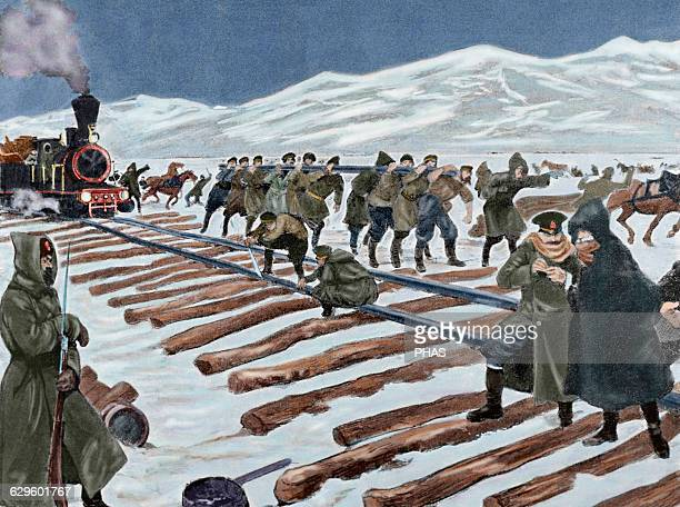 RussoJapanese War Construction of a railroad across the ice on Lake Baikal Engraving Colored