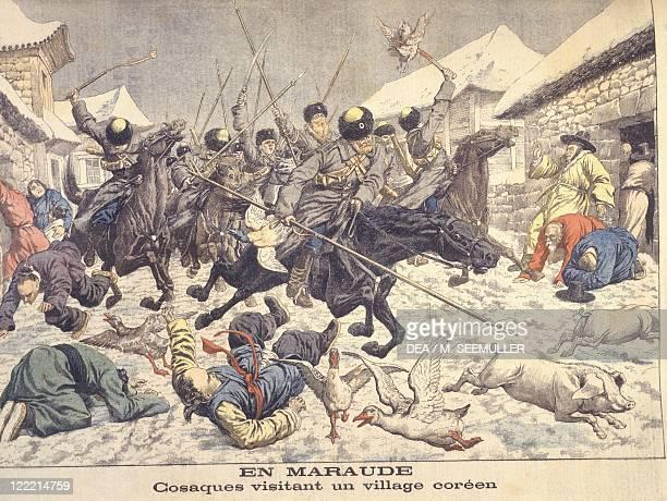 RussoJapanese War Cossacks attack a Korean village March 1904