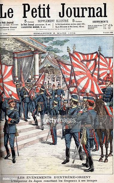 RussoJapanese War emperor of Japan Meiji giving flags to his troops front page of newspaper Petit journal march 6 1904