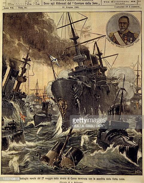 RussoJapanese War Naval battle in the strait of Korea which ended with the defeat of Russian Navy Cover illustration from La Domenica del Corriere...