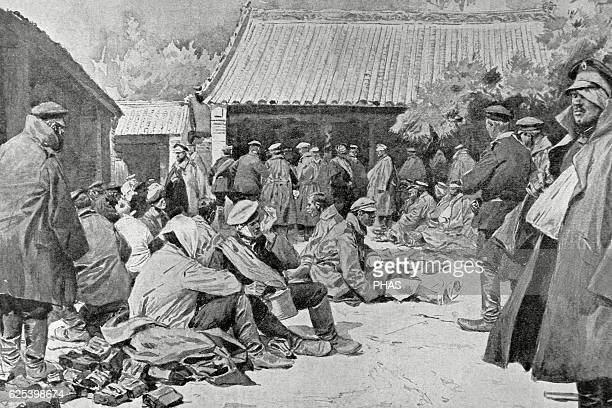 RussoJapanese War Russian soldiers wounded and convalescing in a village in Manchuria Drawing of Gerlach on a photograph La Ilustracion Artistica...