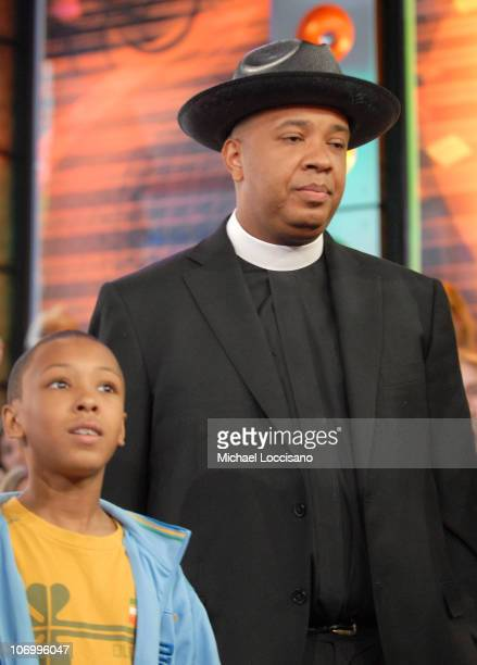 Russy Simmons and Joseph Rev Run Simmons during Rev Run and Family of Run's House and Danity Kane the Making The Band 3 Girls Visit MTV's TRL June 14...