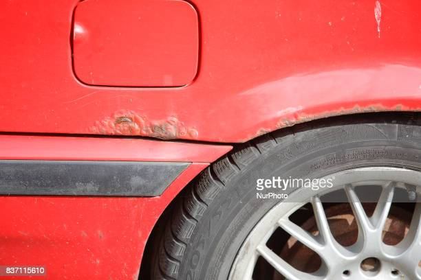 Rust is seen forming on the rear end a BMW 3 series car in Bydgoszcz Poland on 19 August 2017