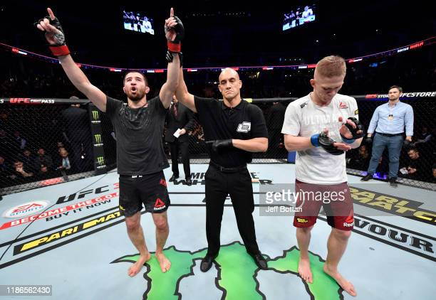 Rustam Khabilov of Russia celebrates after his victory over Sergey Khandozhko of Russia in their welterweight bout during the UFC Fight Night event...