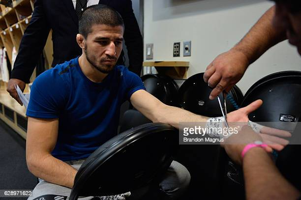 Rustam Khabilov of Russia gets his hands wrapped backstage during the UFC 206 event inside the Air Canada Centre on December 10, 2016 in Toronto,...