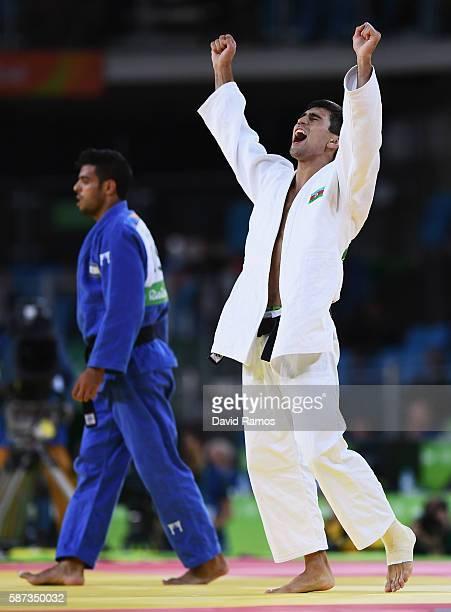Rustam Orujov of Azerbaijan celebrates after defeating Sagi Muki of Israel in the Men's -73 kg Semifinal of Table B Judo match on Day 3 of the Rio...