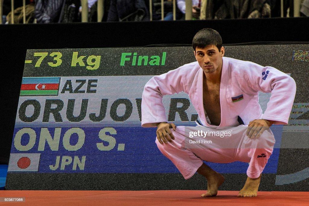 Rustam Orujov of Azerbaijan prepares for the u73kg final against Olympic champion, Shohei Ono of Japan during the 2018 Dusseldorf Grand Slam (23-25 February) at the ISS Dome, Dusseldorf, Germany, on February 24, 2018.