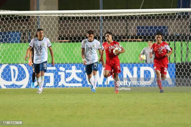 Rustam Soirov of Tajikistan celebrates a scored goal during the FIFA U17 World Cup Brazil 2019 Group E match between Argentina and Tajikistan at...