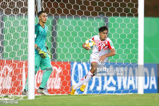 Rustam Soirov of Tajikistan retrieves the ball from the goal after an own goal by Spain during the FIFA U17 World Cup Brazil 2019 group E match...