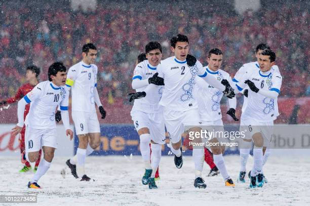 Rustamjon Ashurmatov of Uzbekistan celebrating his goal with his teammates during the AFC U23 Championship China 2018 match between Vietnam and...