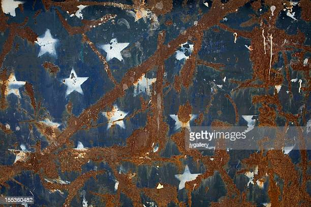 Rusted American flag on metal