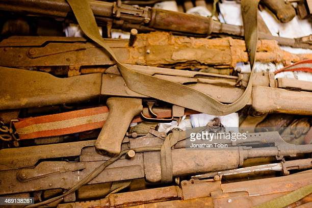 Rusted and disused AK-47s taken from demobilized Congolese fighters. Many of them had spent most of their existence in the jungles of Kivu.