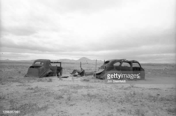 Rusted antique cars in the desert outside of Quartzite, Arizona on December 15, 2001.
