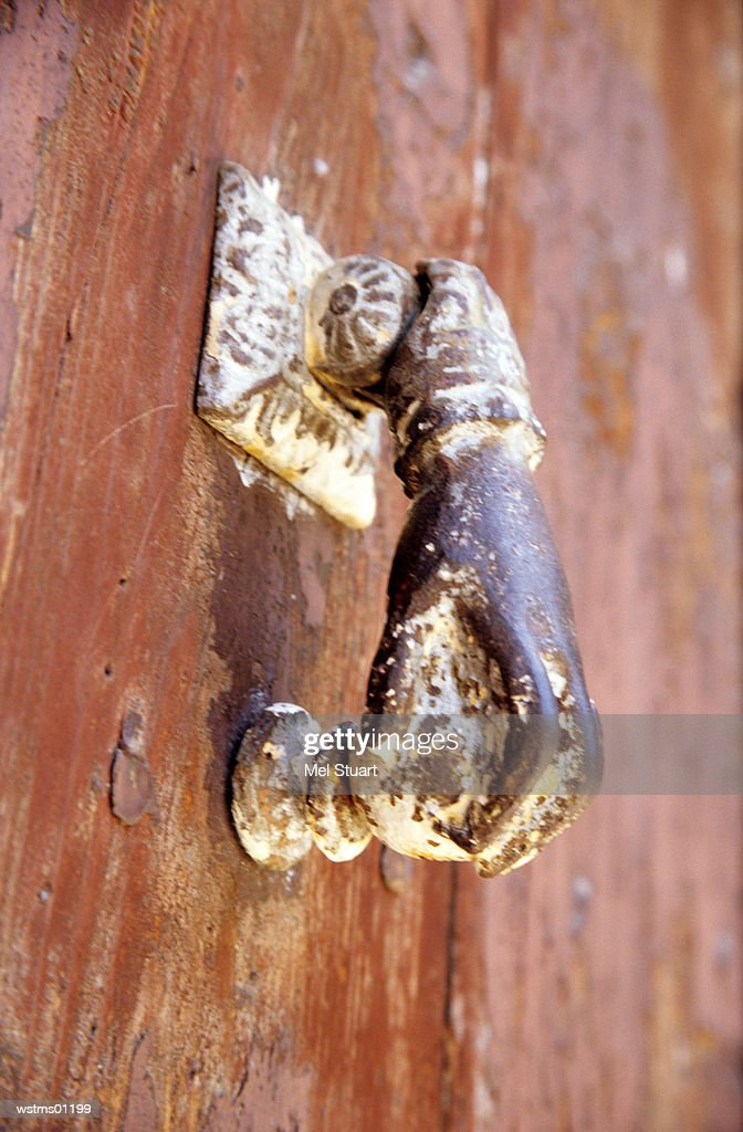 Rusted door handle, Girona, Costa Brava, Catalonia, Spain : Stock Photo