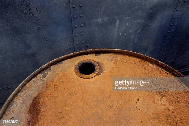 Rusted oil drum