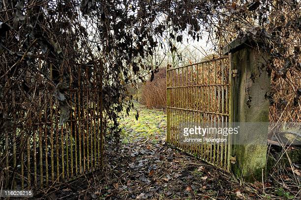 rusted ornate gate - preston england stock pictures, royalty-free photos & images